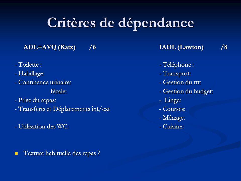 Critères de dépendance