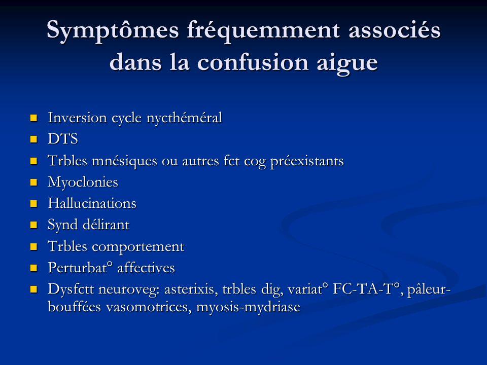 Symptômes fréquemment associés dans la confusion aigue
