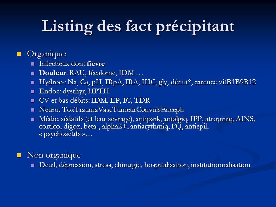 Listing des fact précipitant