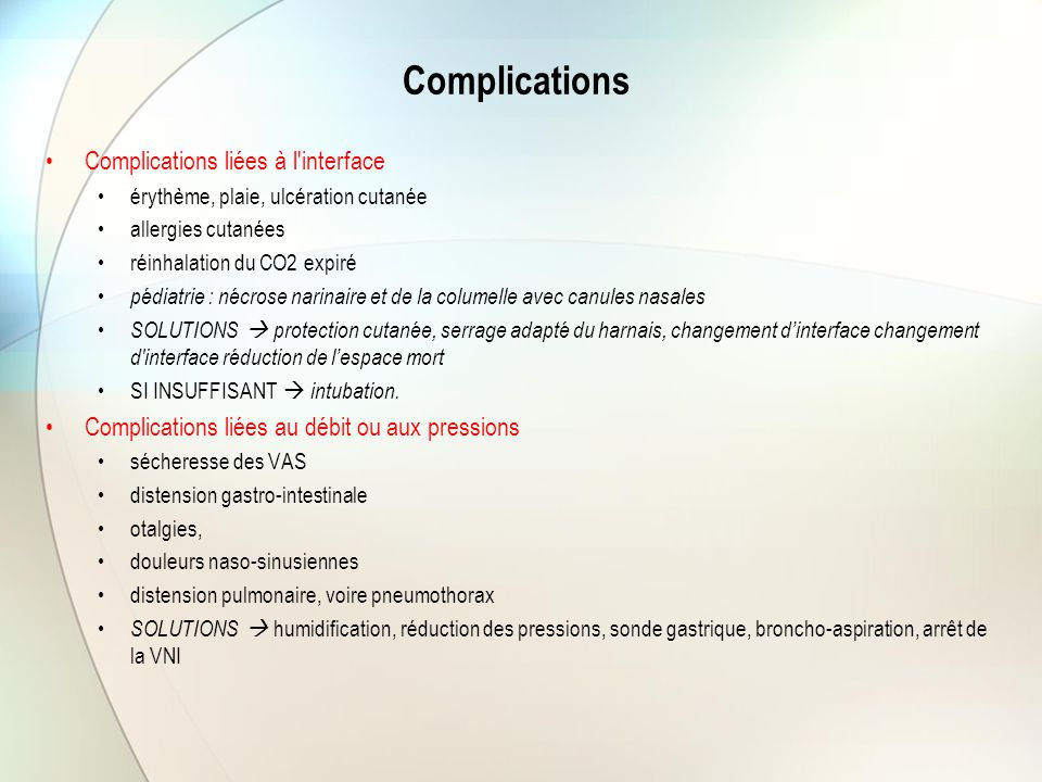 Complications Complications liées à l interface