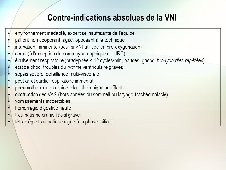 Contre-indications absolues de la VNI