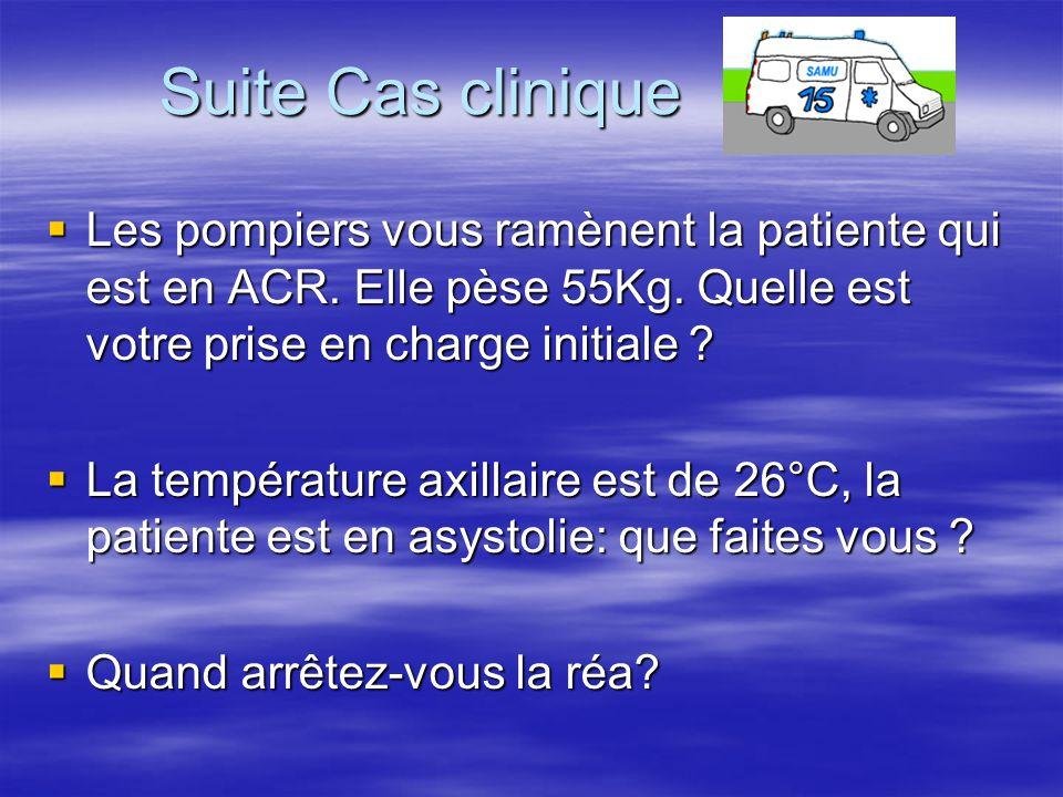 Suite Cas clinique Les pompiers vous ramènent la patiente qui est en ACR. Elle pèse 55Kg. Quelle est votre prise en charge initiale