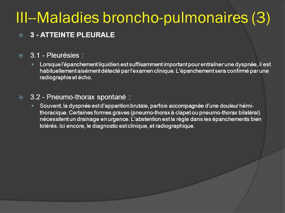 III--Maladies broncho-pulmonaires (3)