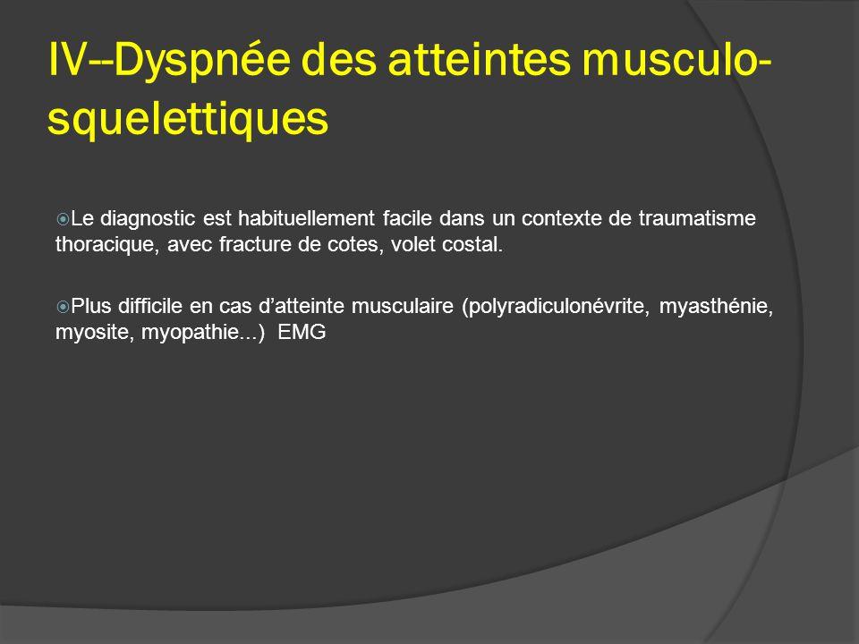 IV--Dyspnée des atteintes musculo-squelettiques