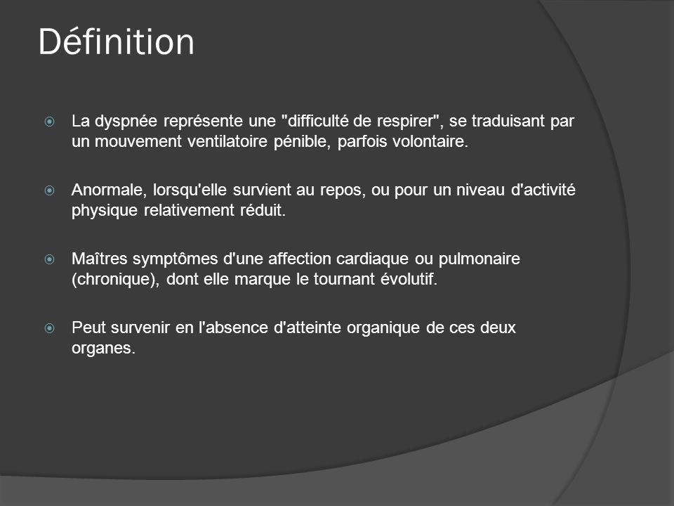 Définition La dyspnée représente une difficulté de respirer , se traduisant par un mouvement ventilatoire pénible, parfois volontaire.