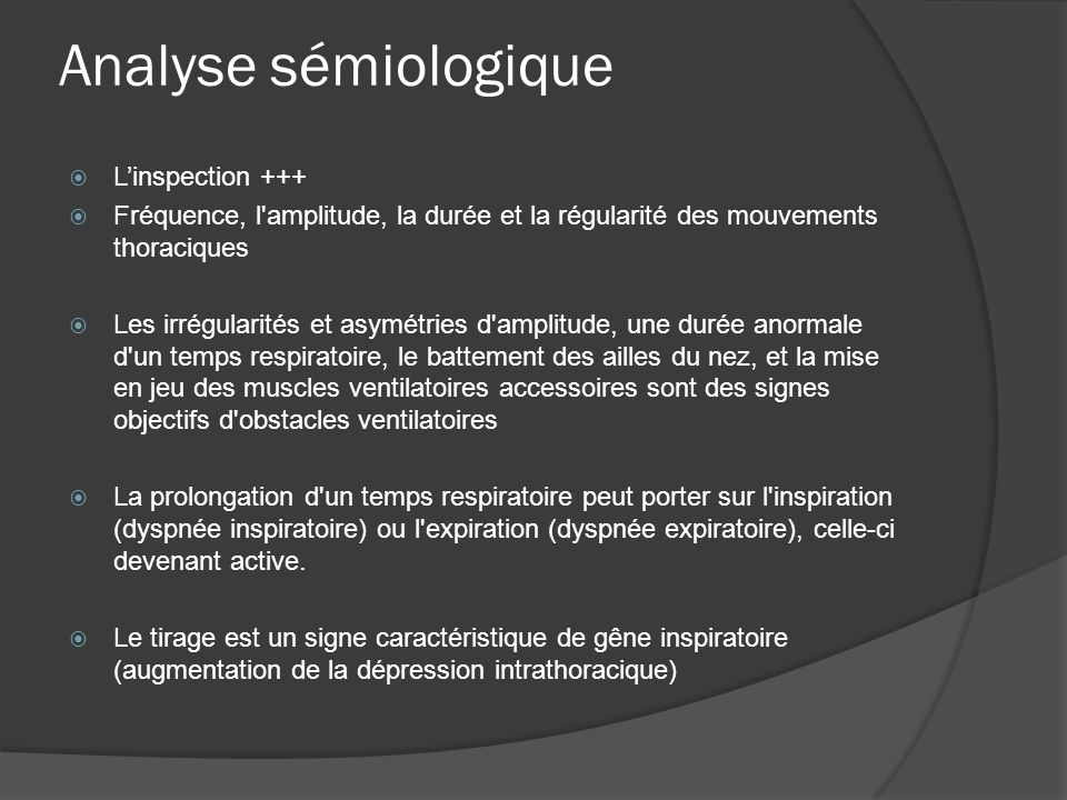 Analyse sémiologique L'inspection +++