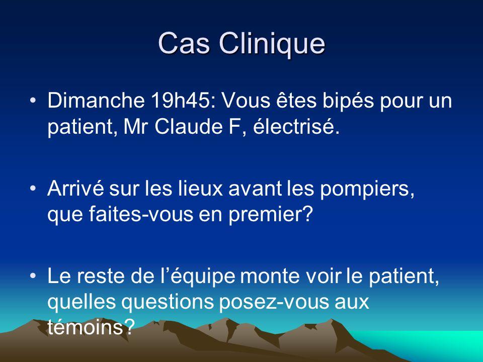 Cas Clinique Dimanche 19h45: Vous êtes bipés pour un patient, Mr Claude F, électrisé.