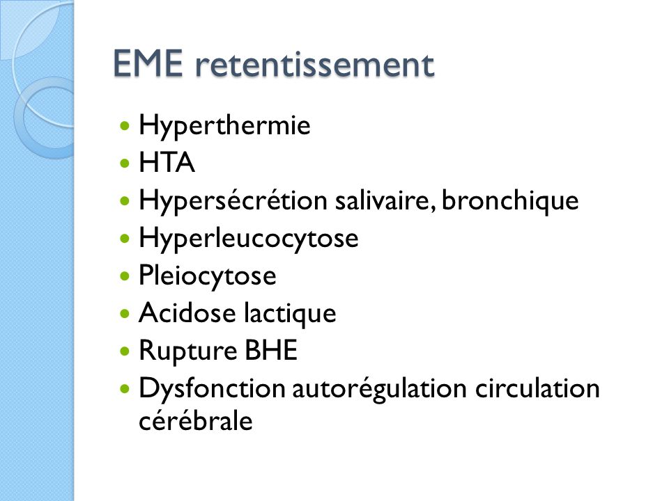EME retentissement Hyperthermie HTA