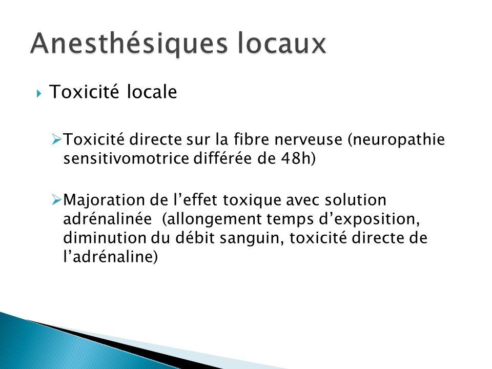 Anesthésiques locaux Toxicité locale