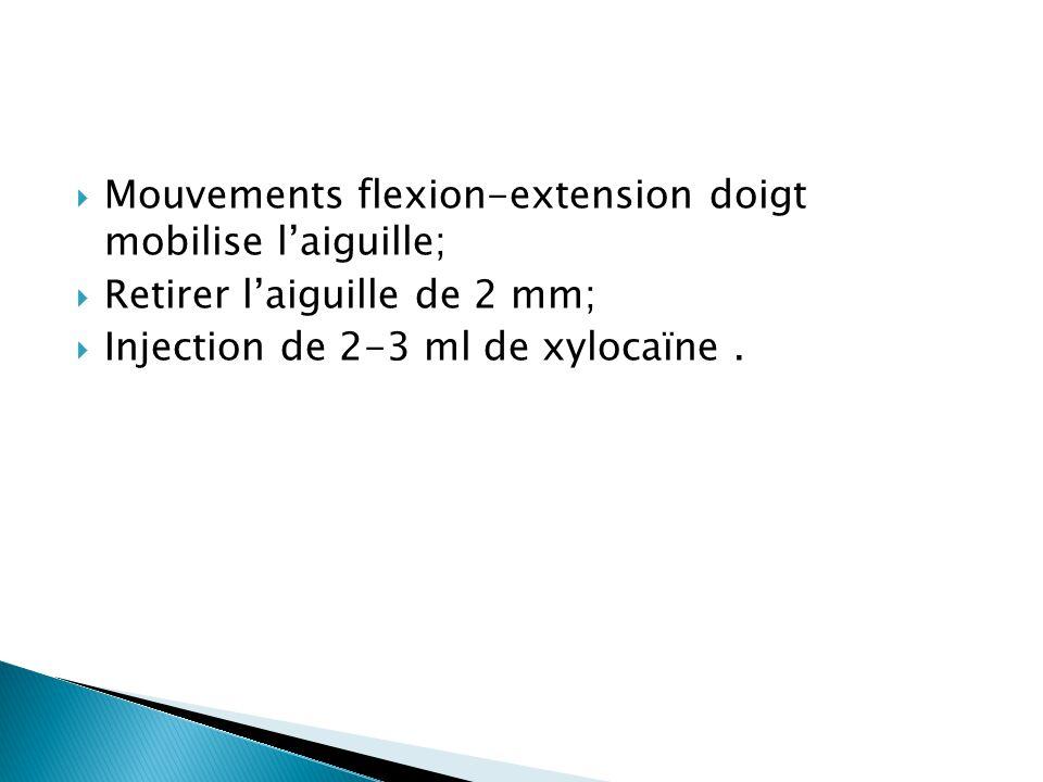 Mouvements flexion-extension doigt mobilise l'aiguille;
