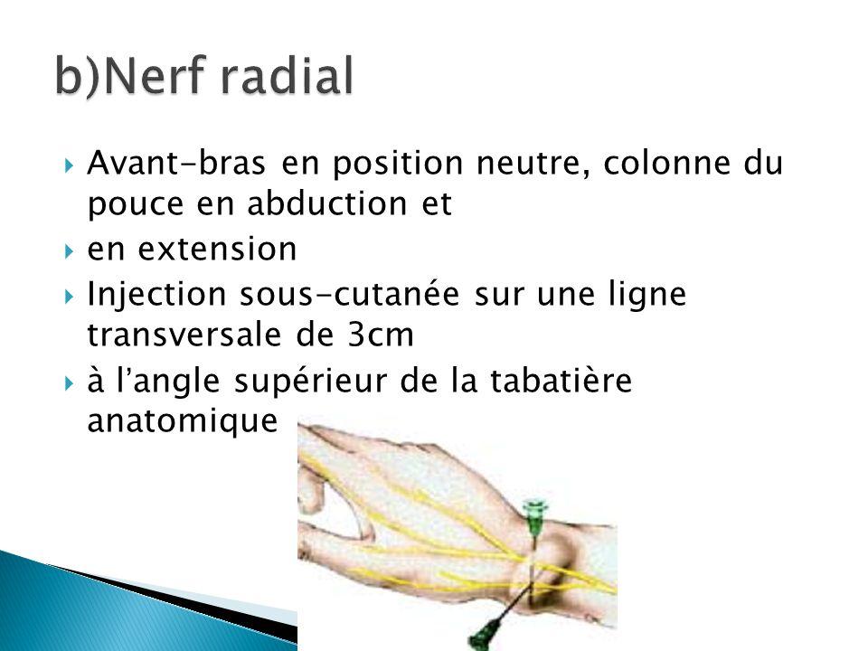 b)Nerf radial Avant-bras en position neutre, colonne du pouce en abduction et. en extension.