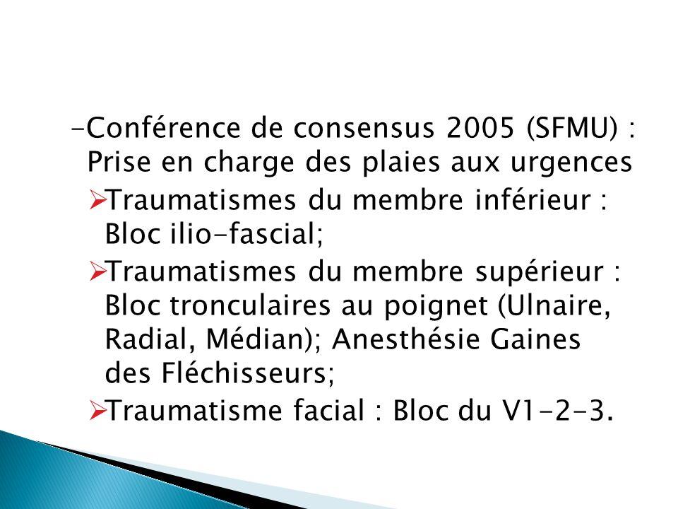 -Conférence de consensus 2005 (SFMU) : Prise en charge des plaies aux urgences