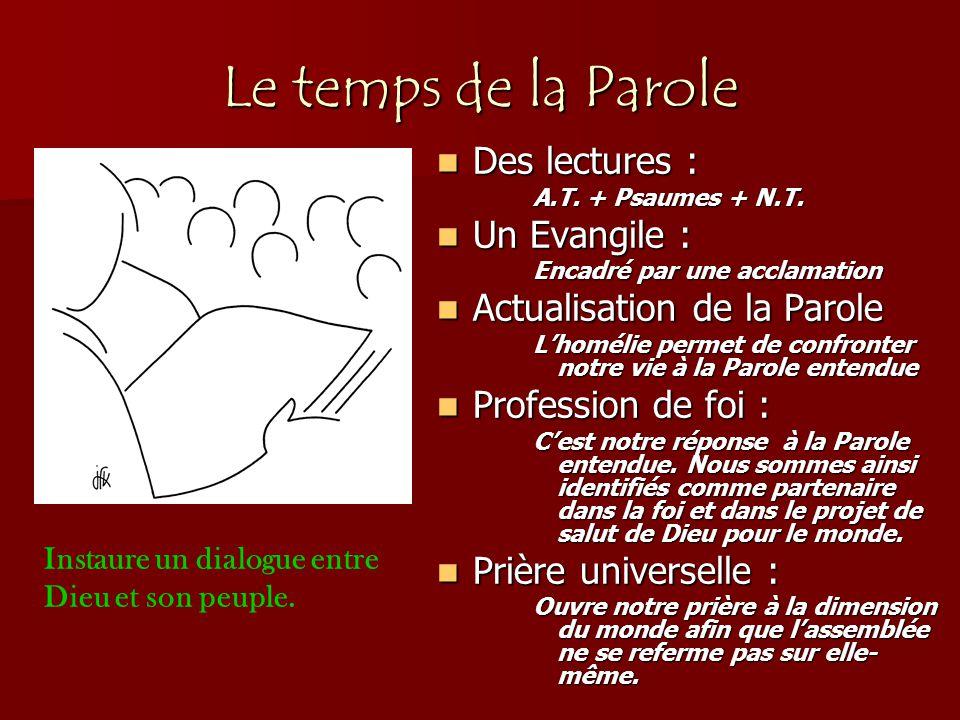 Le temps de la Parole Des lectures : Un Evangile :