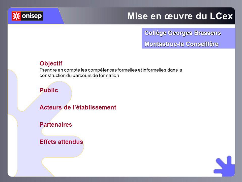 Mise en œuvre du LCex Collège Georges Brassens