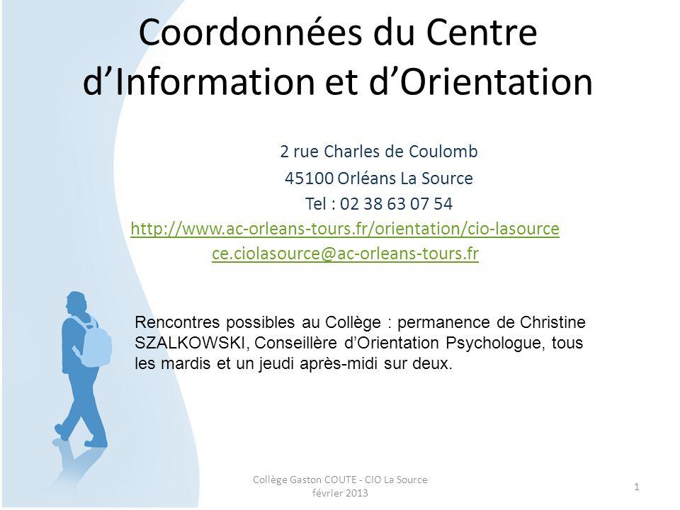 Coordonnées du Centre d'Information et d'Orientation