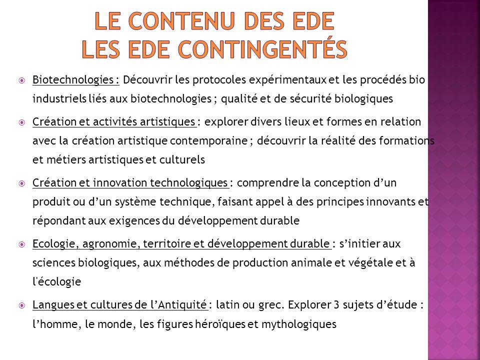 Le contenu des EDE Les Ede contingentés