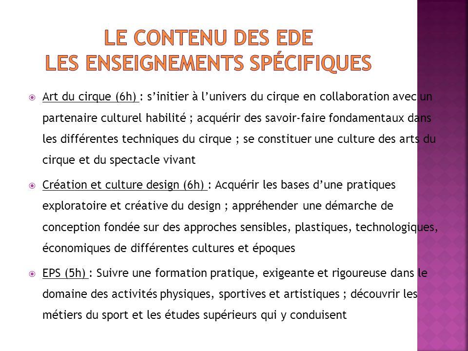 Le contenu des EDE les enseignements spécifiques