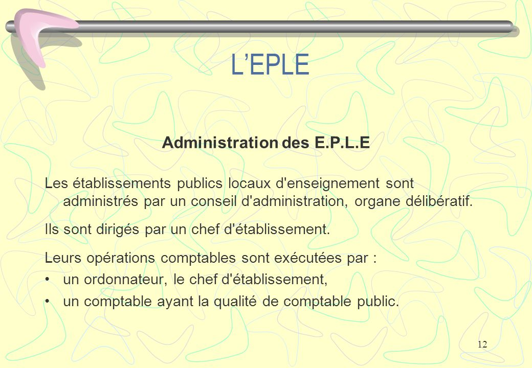 Administration des E.P.L.E