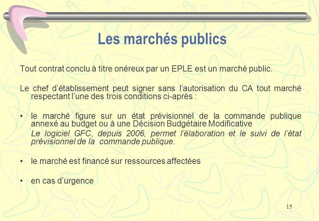Les marchés publics Tout contrat conclu à titre onéreux par un EPLE est un marché public.