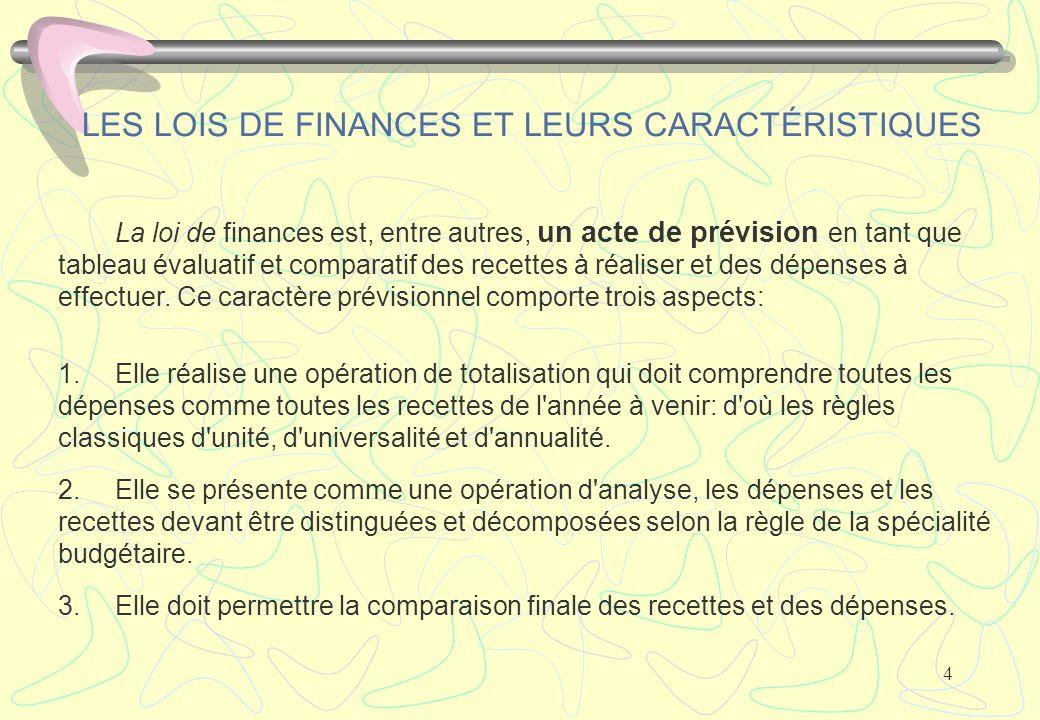 LES LOIS DE FINANCES ET LEURS CARACTÉRISTIQUES