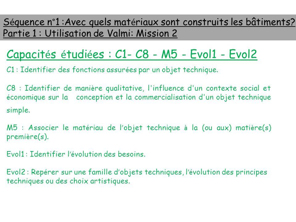 Capacités étudiées : C1- C8 - M5 - Evol1 - Evol2