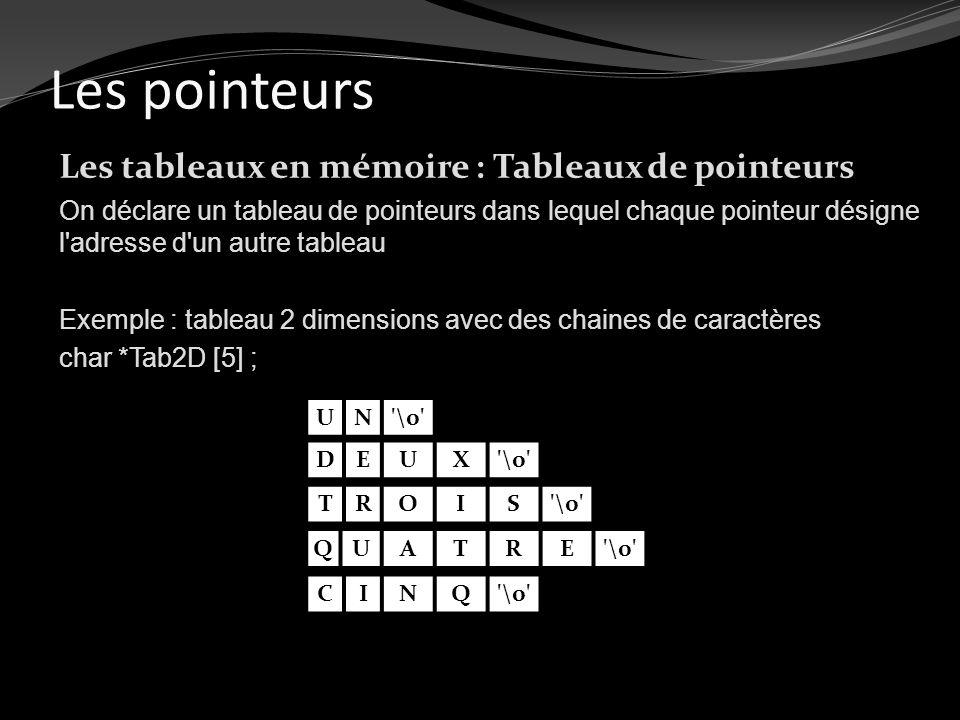 Les pointeurs Les tableaux en mémoire : Tableaux de pointeurs