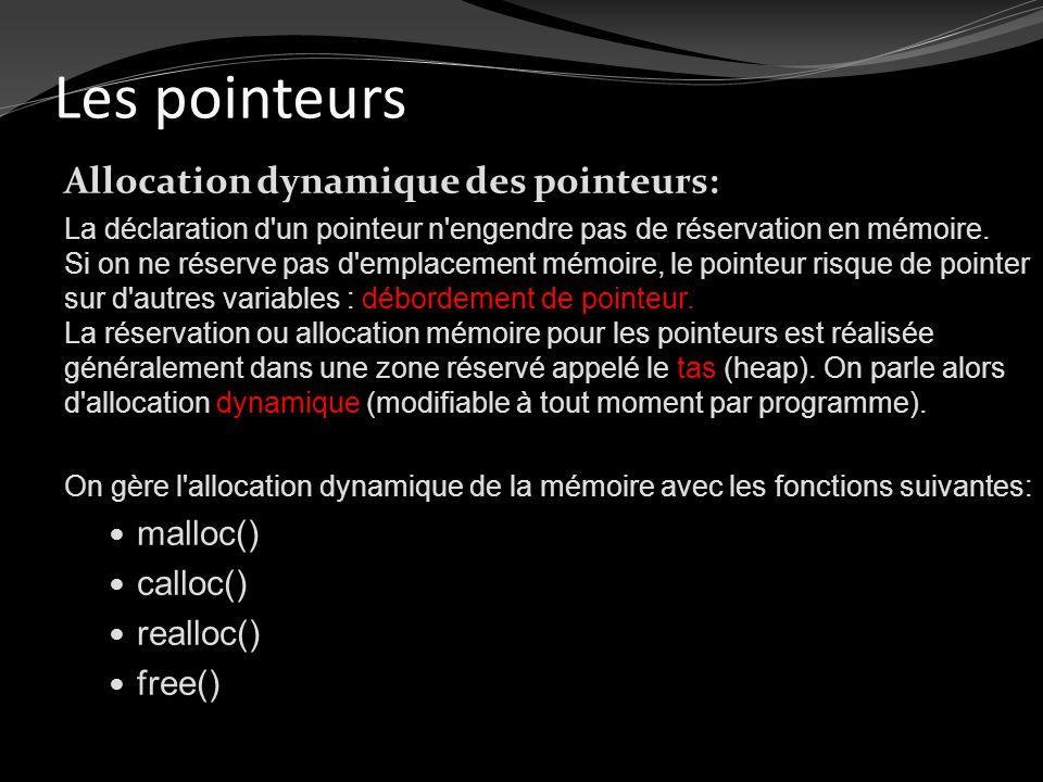 Les pointeurs Allocation dynamique des pointeurs: malloc() calloc()