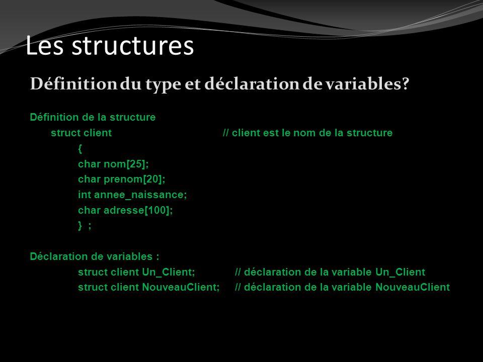 Les structures Définition du type et déclaration de variables