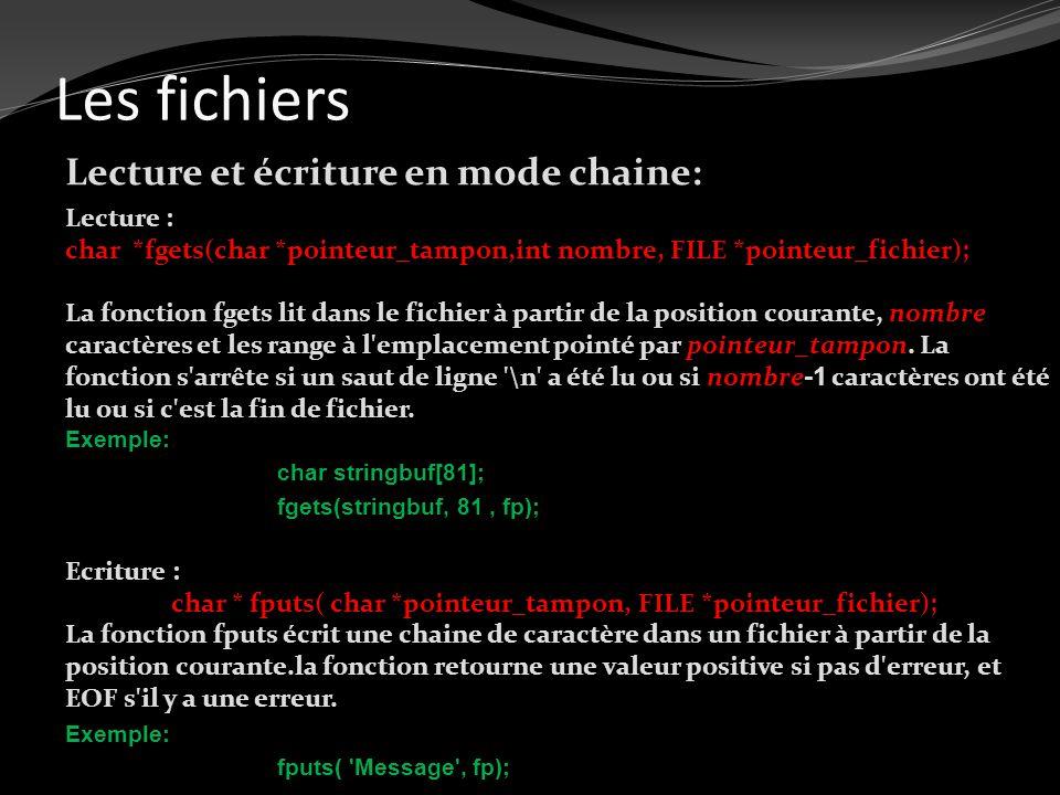 Les fichiers Lecture et écriture en mode chaine: