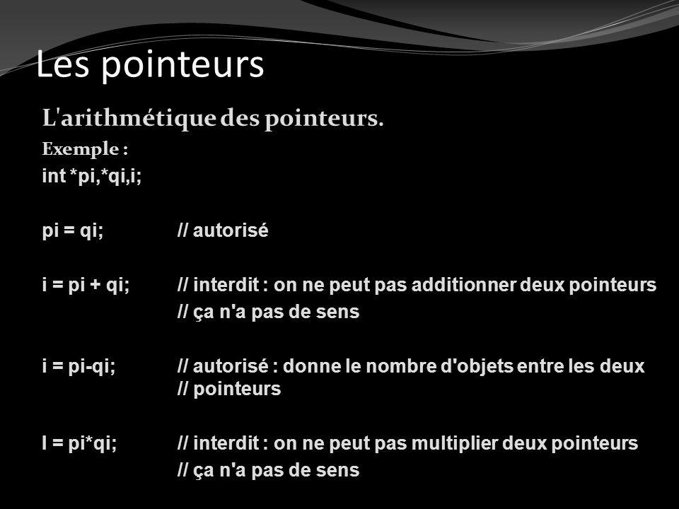 Les pointeurs L arithmétique des pointeurs. Exemple : int *pi,*qi,i;