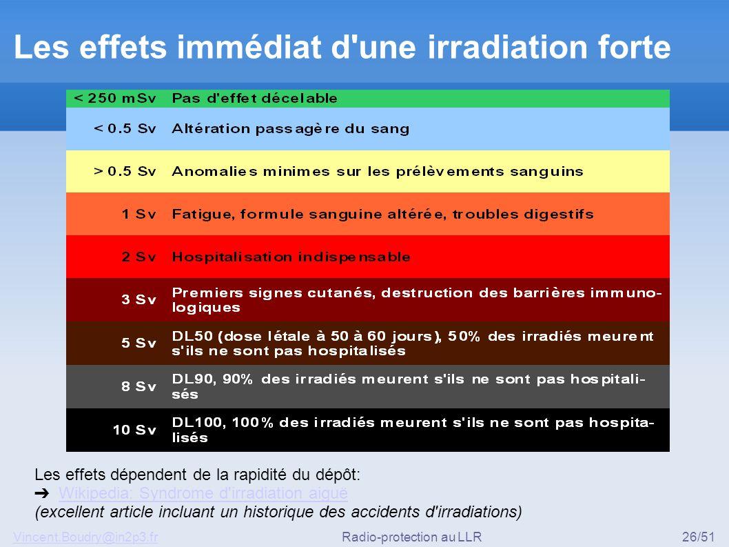Les effets immédiat d une irradiation forte