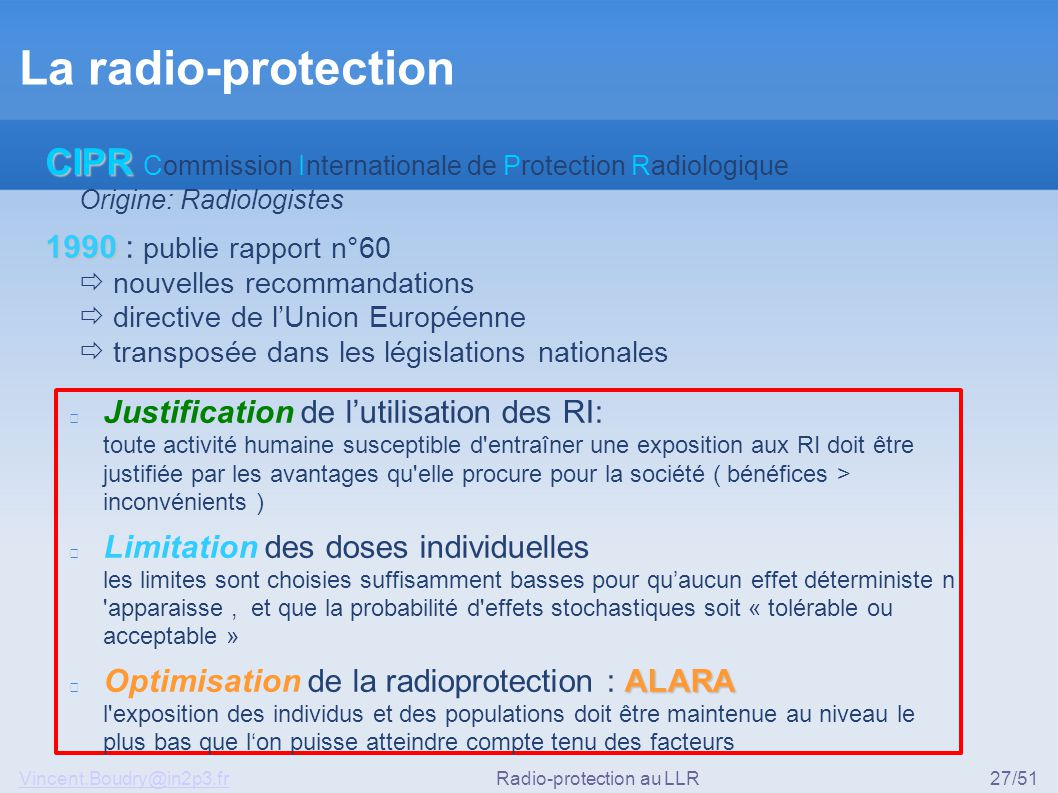 Radio-protection au LLR