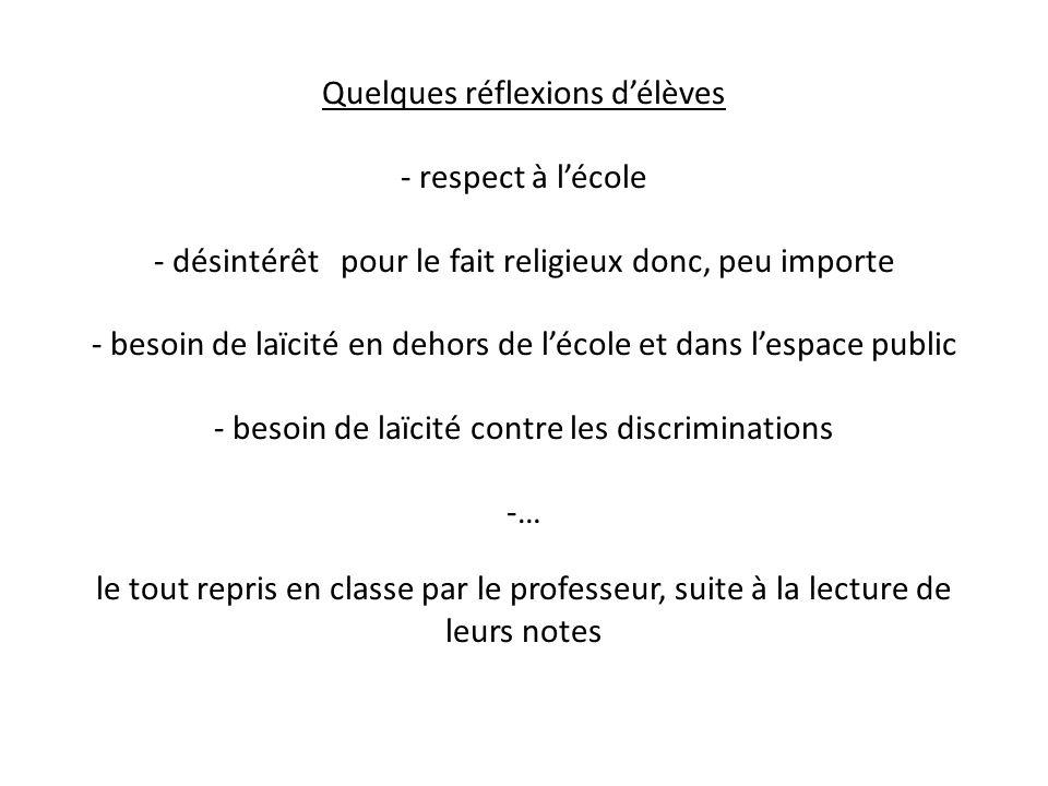 Quelques réflexions d'élèves - respect à l'école - désintérêt pour le fait religieux donc, peu importe - besoin de laïcité en dehors de l'école et dans l'espace public - besoin de laïcité contre les discriminations -… le tout repris en classe par le professeur, suite à la lecture de leurs notes