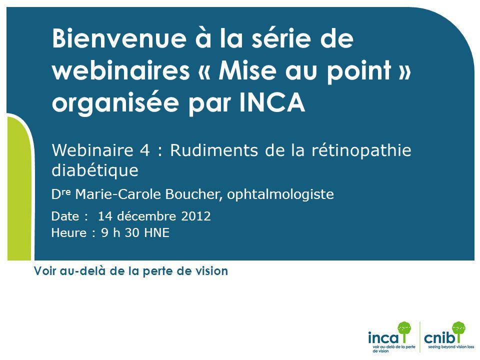 Bienvenue à la série de webinaires « Mise au point » organisée par INCA