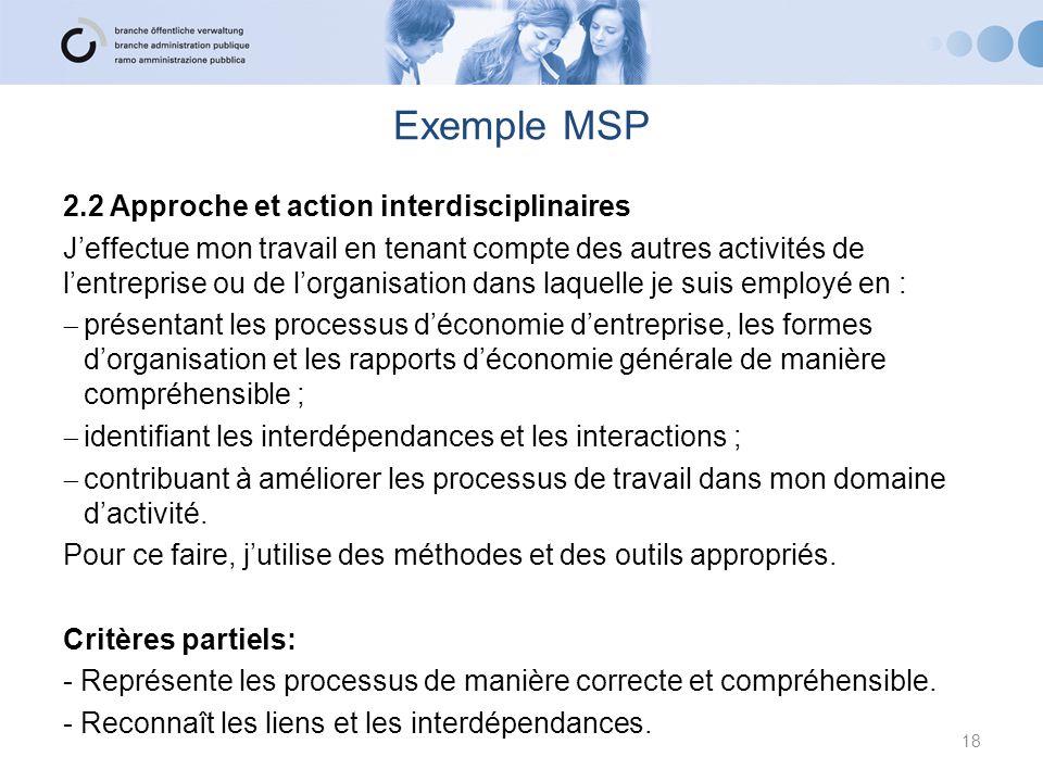 Exemple MSP 2.2 Approche et action interdisciplinaires
