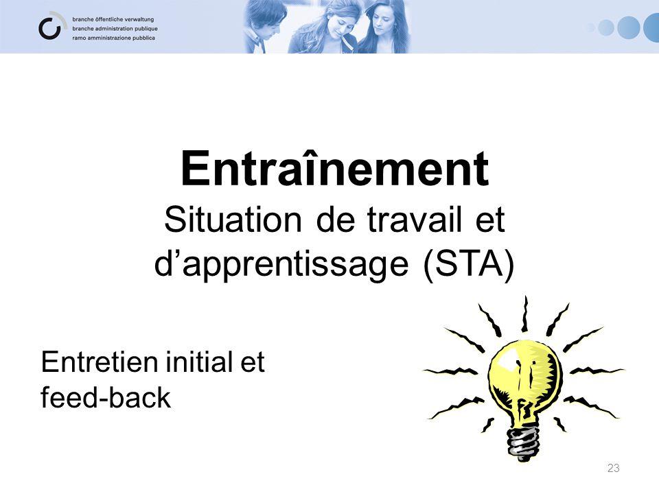 Entraînement Situation de travail et d'apprentissage (STA)