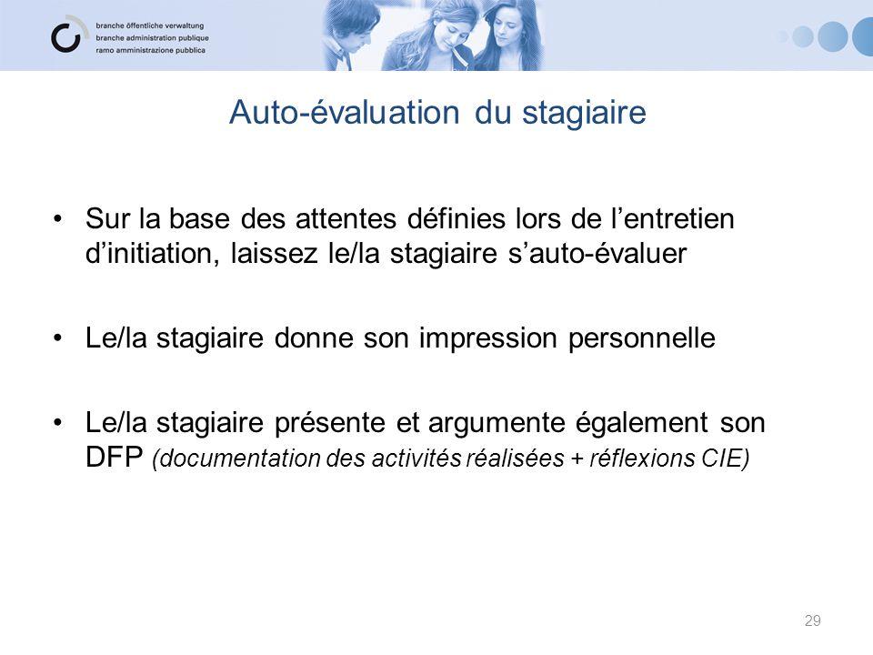 Auto-évaluation du stagiaire