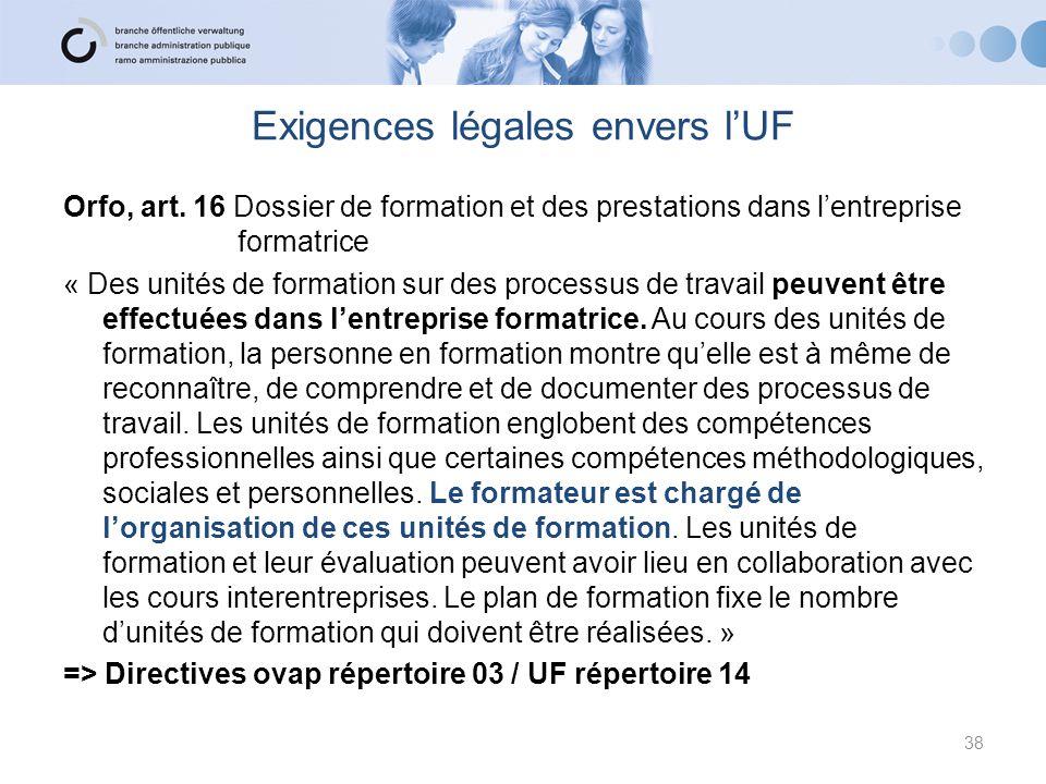 Exigences légales envers l'UF