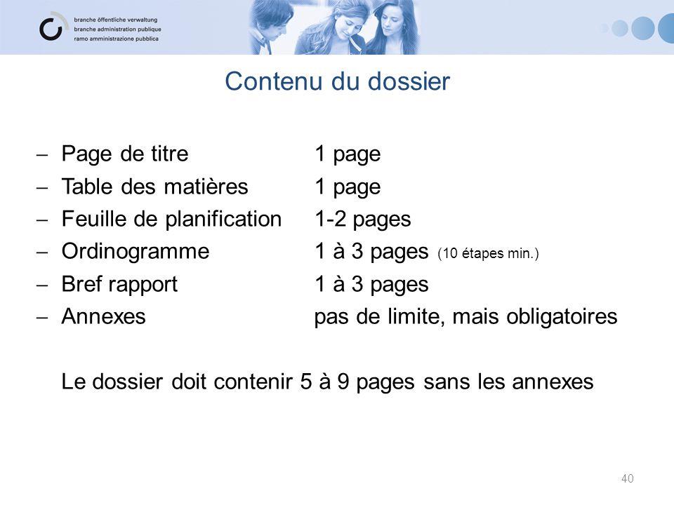 Contenu du dossier Page de titre 1 page Table des matières 1 page