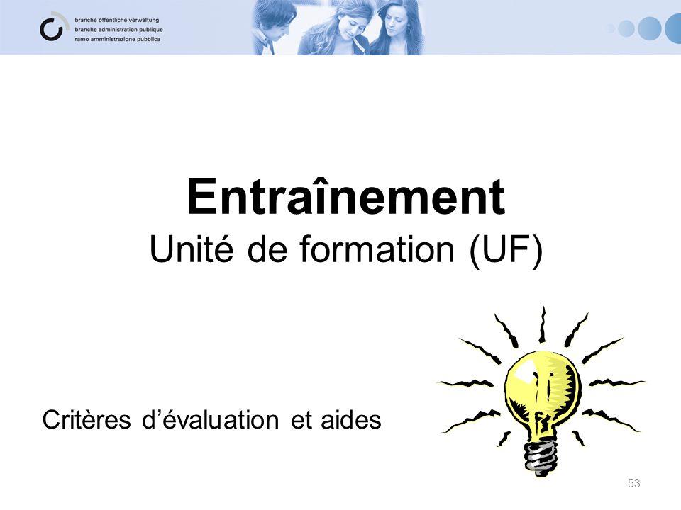 Entraînement Unité de formation (UF)