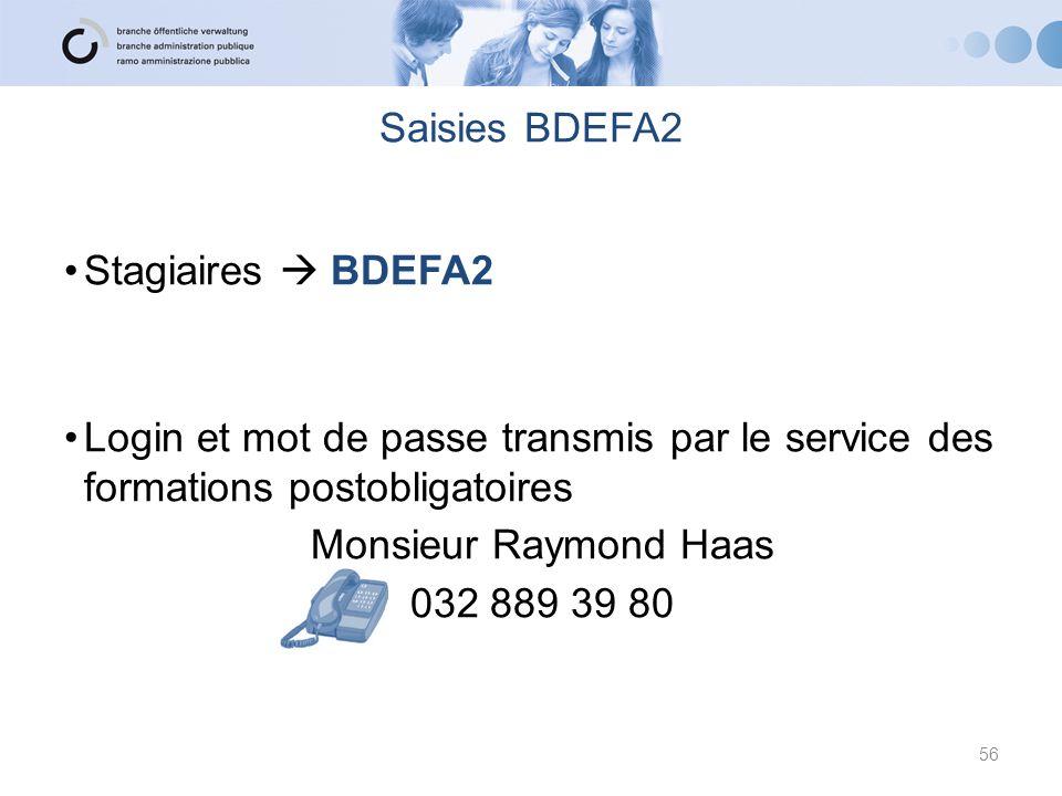 Saisies BDEFA2 Stagiaires  BDEFA2