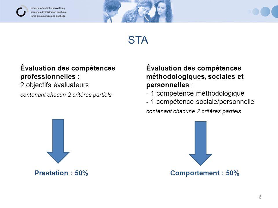 STA Évaluation des compétences professionnelles :