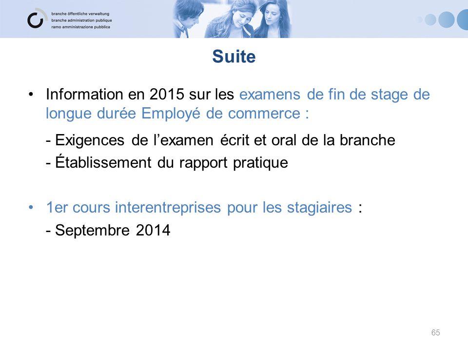 Suite Information en 2015 sur les examens de fin de stage de longue durée Employé de commerce : - Exigences de l'examen écrit et oral de la branche.