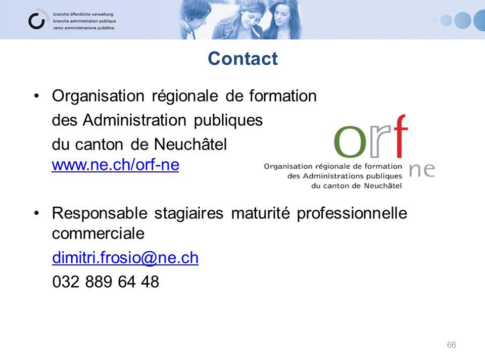Contact Organisation régionale de formation