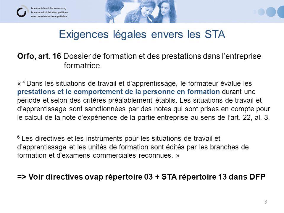 Exigences légales envers les STA