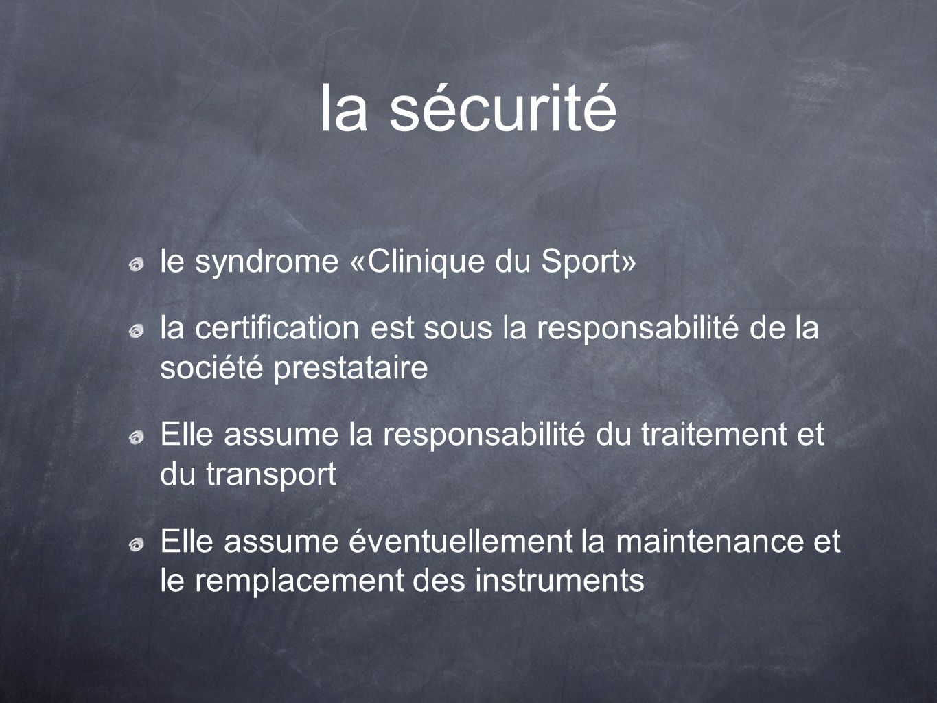 la sécurité le syndrome «Clinique du Sport»