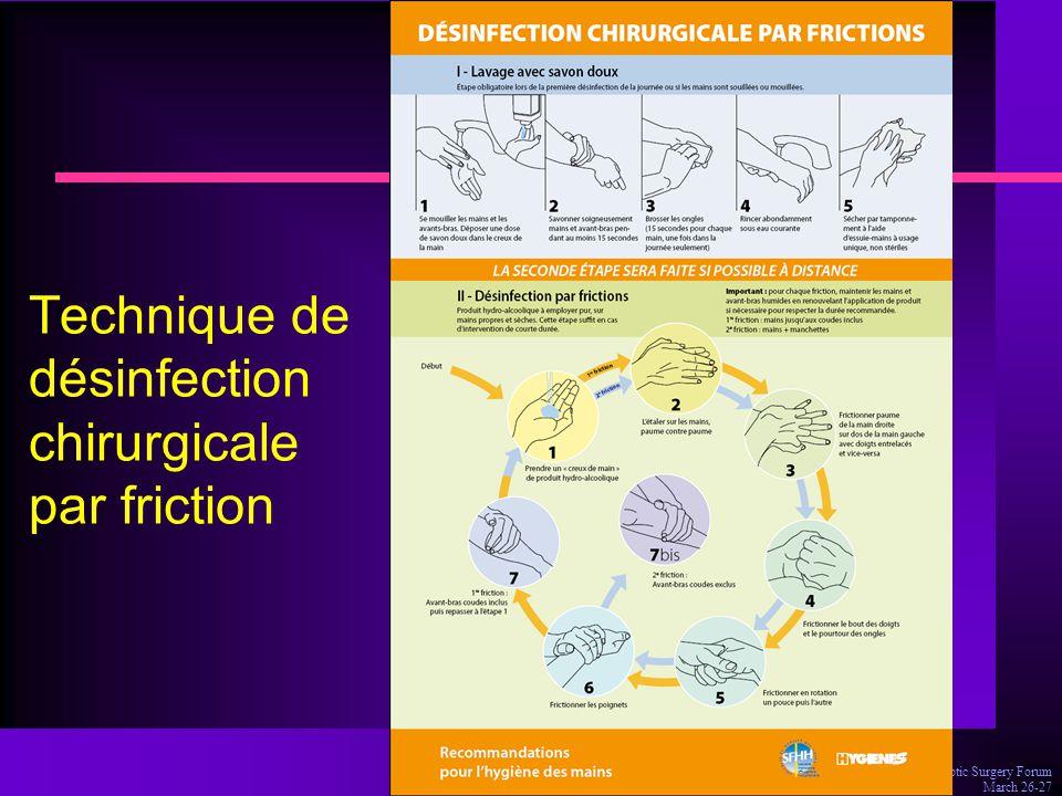 Technique de désinfection chirurgicale par friction