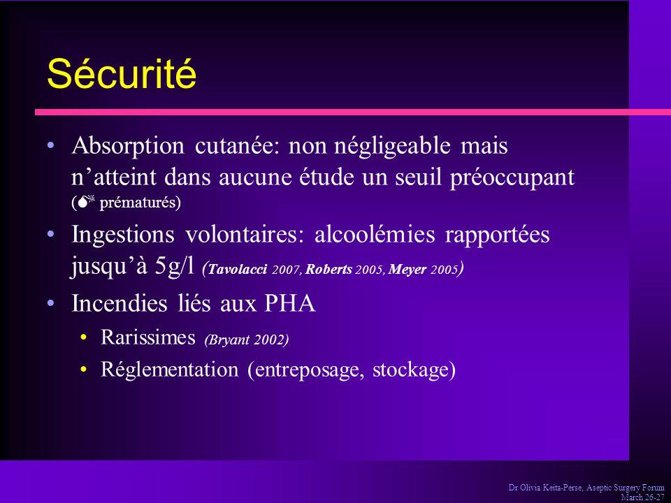 Sécurité Absorption cutanée: non négligeable mais n'atteint dans aucune étude un seuil préoccupant ( prématurés)