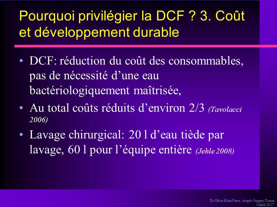 Pourquoi privilégier la DCF 3. Coût et développement durable