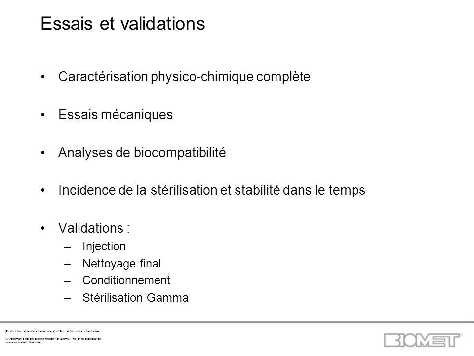 Essais et validations Caractérisation physico-chimique complète